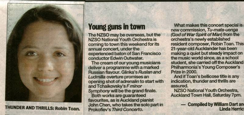 Young Guns in Town - NSZO NYO 2005, The New Zealand Herald, August 24, 2005